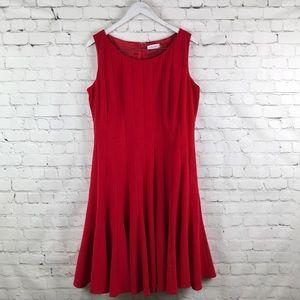 Calvin Klein Red pleaded sleeveless Career Dress